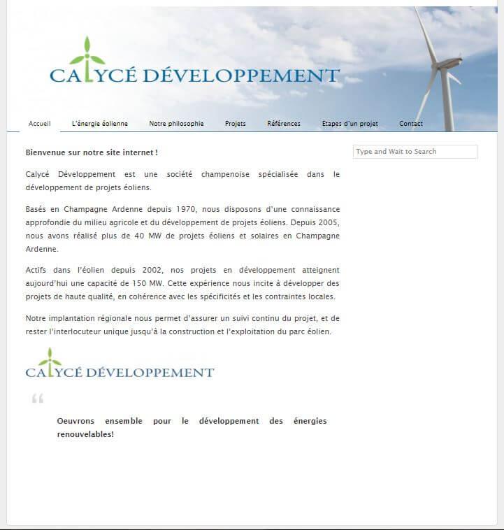 Ancien Site Calycé Développement | Mobius Web – Création de site Web et Agence digitale pour PME