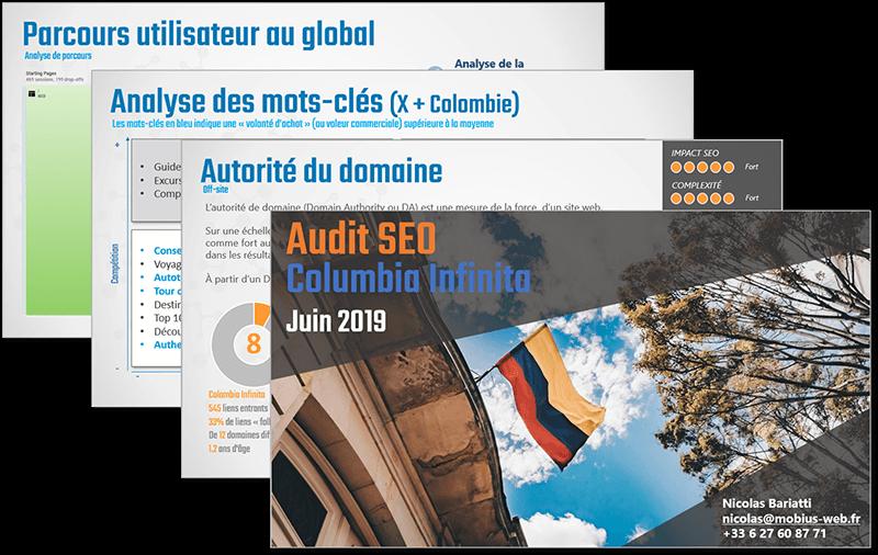 Audit SEO Colombia Infinita | Mobius Web – Création de site Web et Agence digitale pour PME