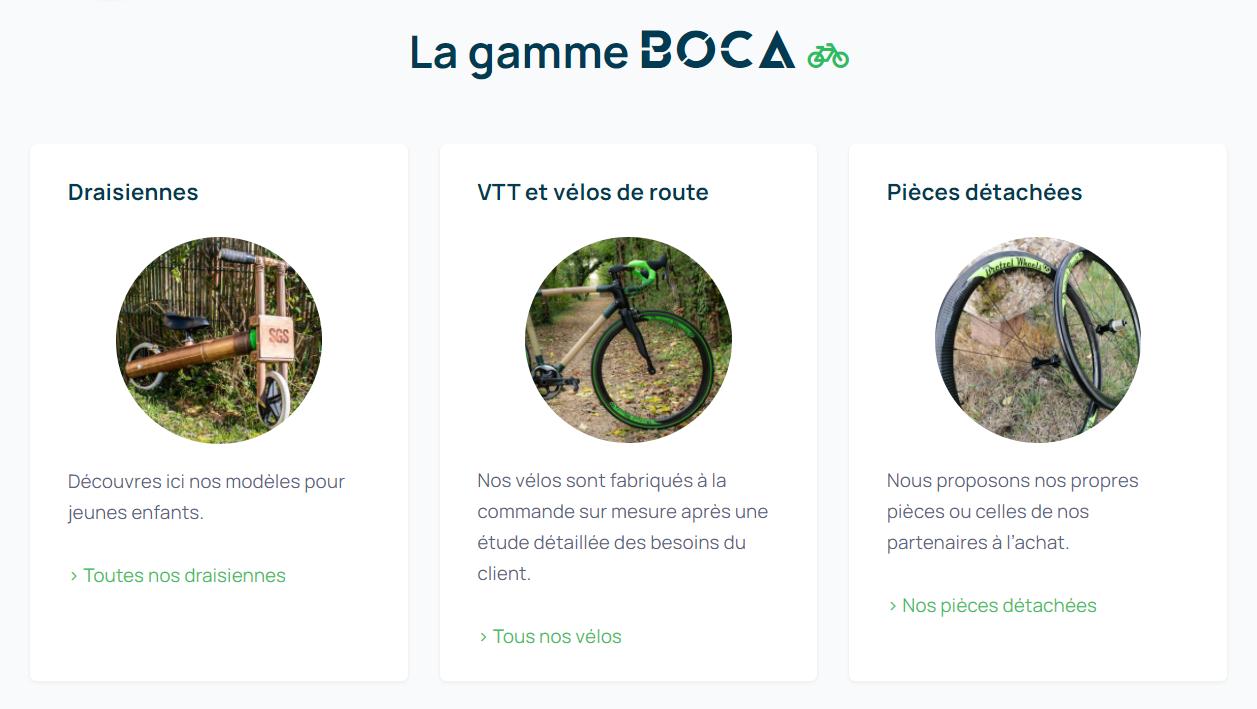 Gamme de créations Boca Cycles